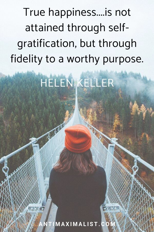 Woman walking a bridge. True happiness quote. Helen Keller quote.